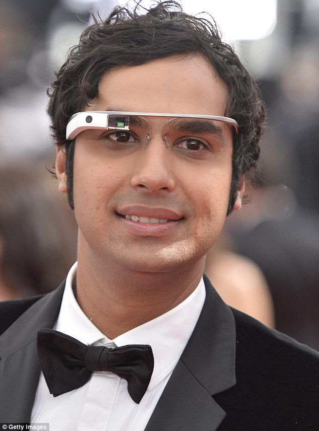 Upgrade: Big Bang Theory's Kunal Nayyar wearing the Google Glass at the Emmys in September. Those with the earlier design will be able to swap their old device for the new one