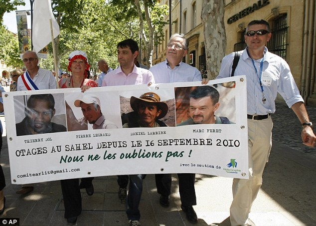 Supporting them to the very end: Families, friends and activists demonstrating in Aix en Provence, southern France, in June to mark 1,000 days since the four French hostages were kidnapped