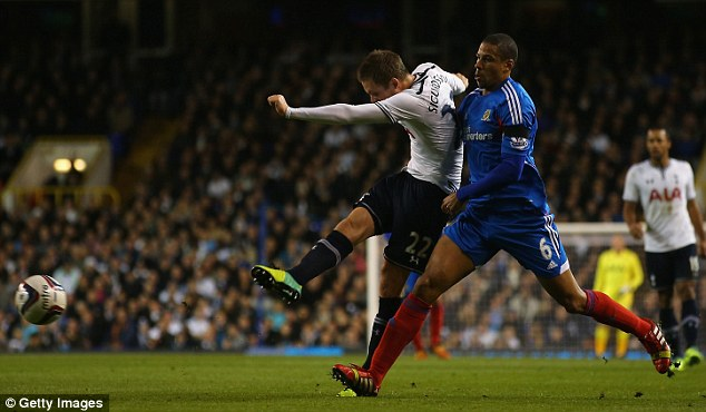 Lightning start: Spurs were in front after just 17 minutes courtesy of a stunning piledriver from Sigurdsson