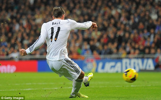 Strike: Bale whipped a cross from Karim Benzema into the top corner in the 13th minute