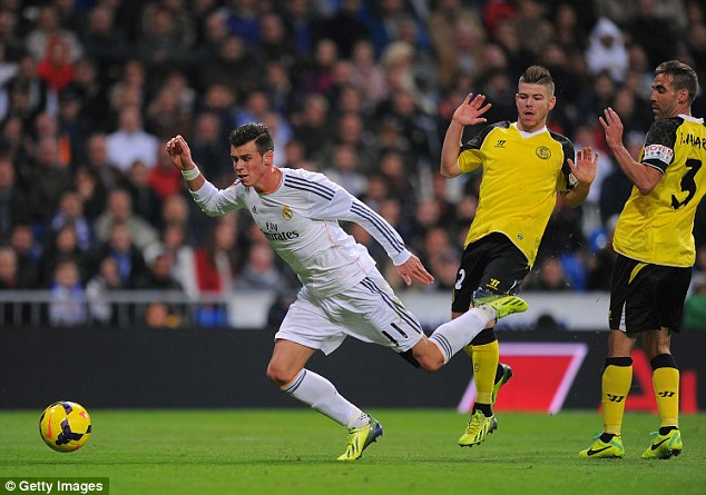 Penalty? Bale went down after a challenge from Moreno, but the referee was unmoved