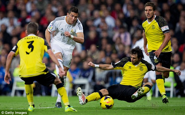 Hat-trick: Ronaldo scored his third goal in the second half as Real Madrid moved six points behind Barcelona