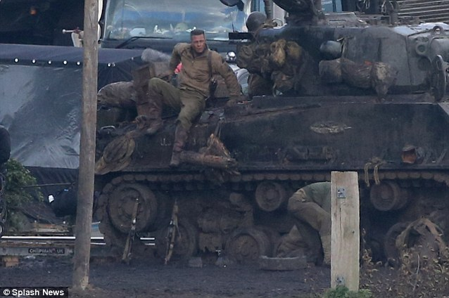 Tank action! Brad Pitt was spotted filming in the Oxfordshire countryside on Thursday