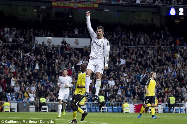 Anything you can do...: Ronaldo also celebrates with a leap