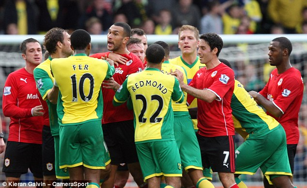 Handbags: There are several injuries for Hughton to concern about, while the FA have charged Norwich for failing to control their players after Leroy Fer's 'goal'