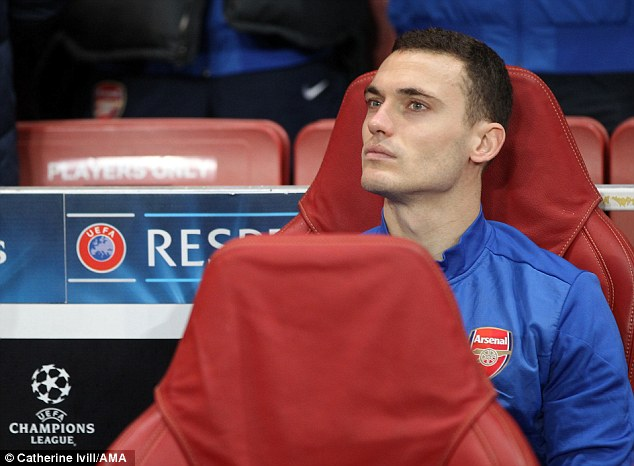 From the bench: Thomas Vermaelen has found first-team football hard to come by at Arsenal