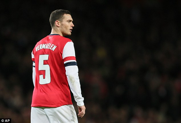 Back in action: Vermaelen got a rare start in the Capital One Cup defeat to Chelsea