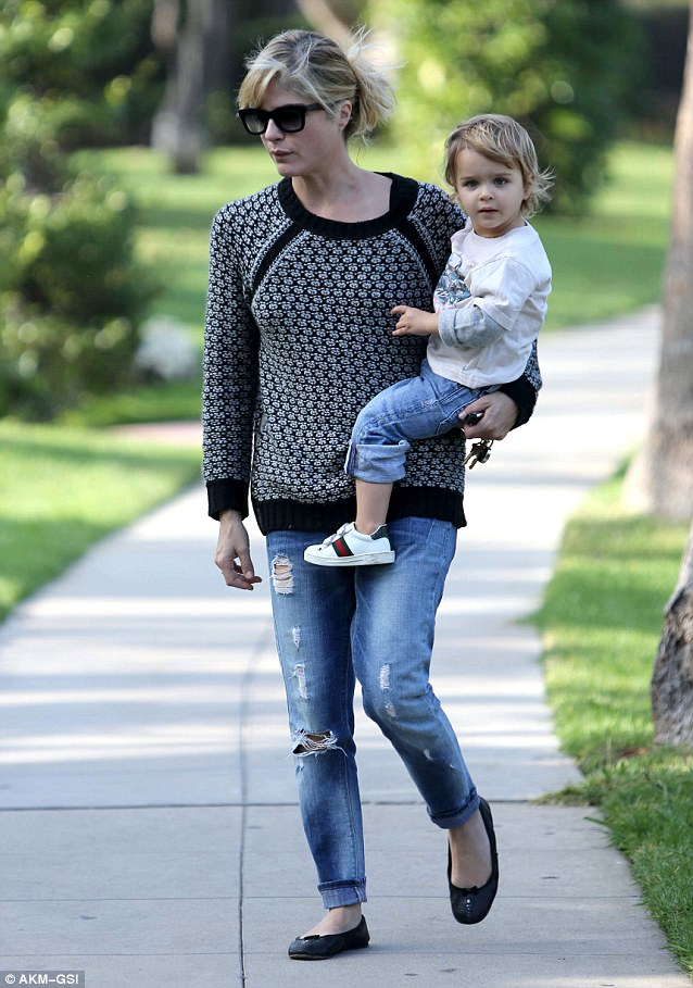 Chilled: Selma Blair goes for a leisurely stroll with son Arthur in Beverly Hills