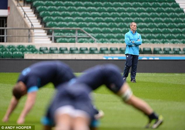 Eagle eye: England coach Stuart Lancaster watches his team's preparations at Twickenham