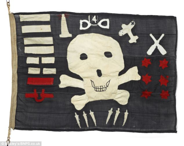 A piece of military history: A Jolly Roger flag denoting a Royal Navy submarine's clandestine mission known as 'The Man Who Never Was' has emerged after 70 years