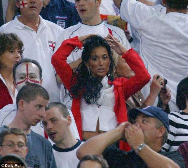 When Sven was busy, Nancy would watch from the stands, such as at this World Cup match in 2002
