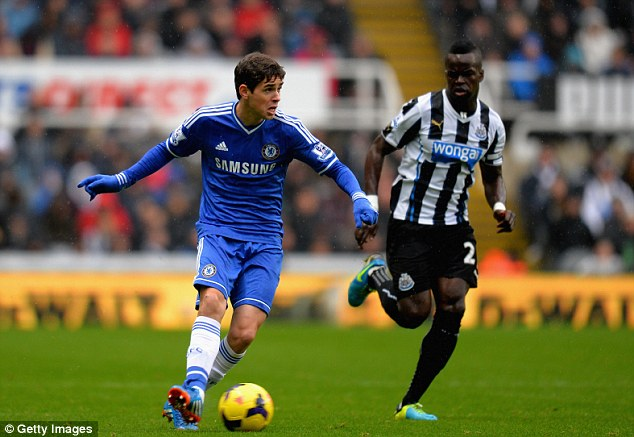 On the move: Oscar looks to unlock the Newcastle defence