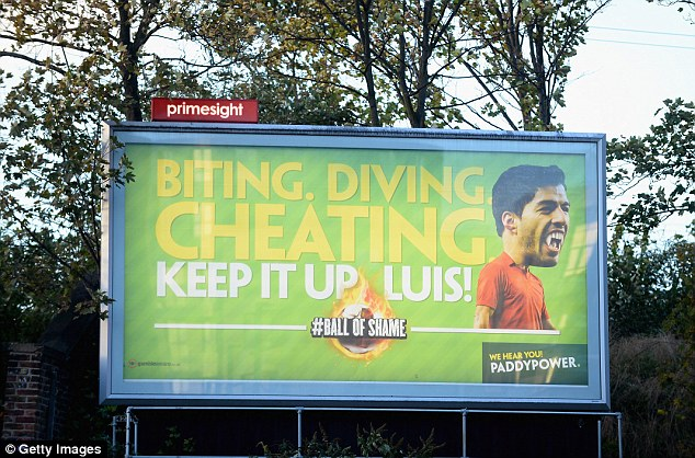 Suarez: An advertising board out side the ground