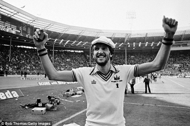 Happy days: David Cross celebrates the FA Cup final victory over Arsenal in 1980