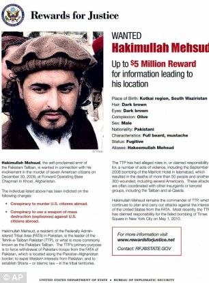 Bounty: Mehsud has been among the CIA's most wanted men in the world for at least four years with and offer of $5million for information