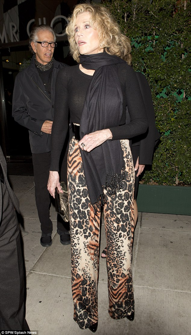 Legend: Jane Fonda, 75, seems to be drinking from the fountain of youth as she steps out for dinner in Beverly Hills on Friday