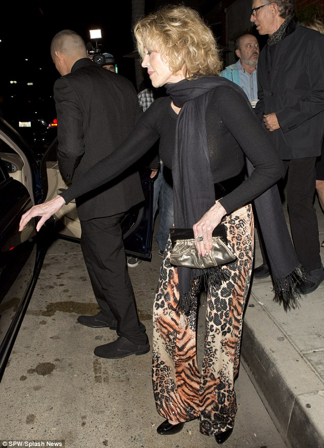 Dining out: The veteran actress had been dining out at the popular Mr Chow restaurant in Beverly Hills with old friend Anjelica Huston