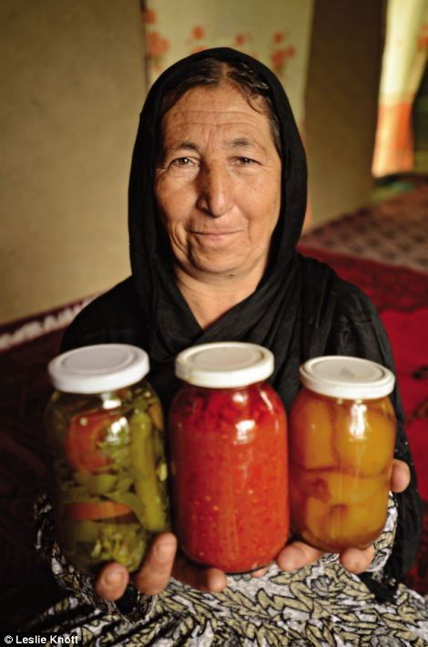 Cooking: Khayrnisa is shown here with her jars of pickles