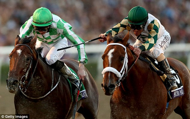 Tight finish: Mucho Macho Man (right), riden by Gary Stevens crosses the finish line ahead of Declaration of War
