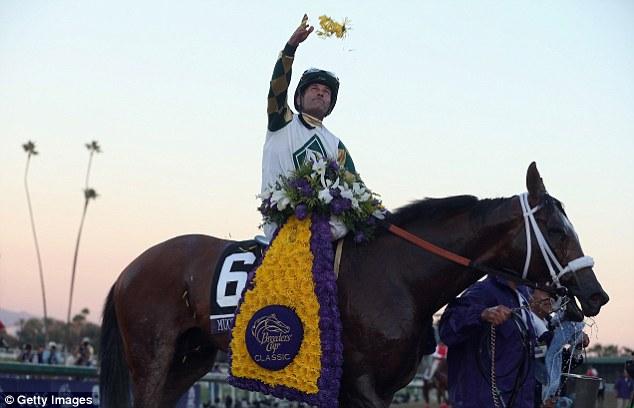 Champion: Jockey Gary Stevens celebrates atop Mucho Macho Man after winning the Classic