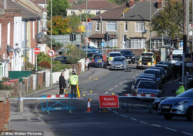 Continuing investigation: Both girls were struck by a green Honda Civic in this suburban street. A man was arrested by police after he collapsed at a nearby petrol station