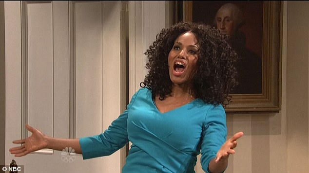 Costume change: The 36-year-old then slipped into an Oprah Winfrey impersonation