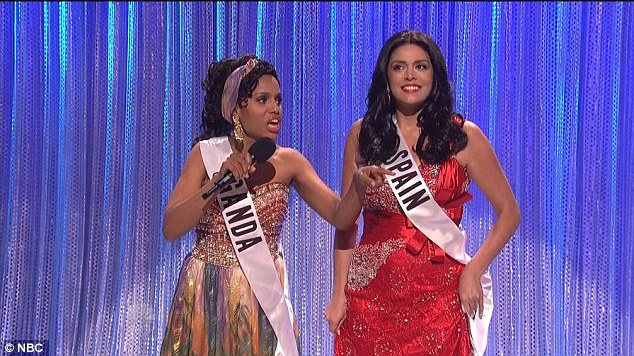 Not getting it: The star portrayed a confused pageant contestant