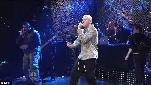 Laying it down: Eminem was the musical guest for the evening