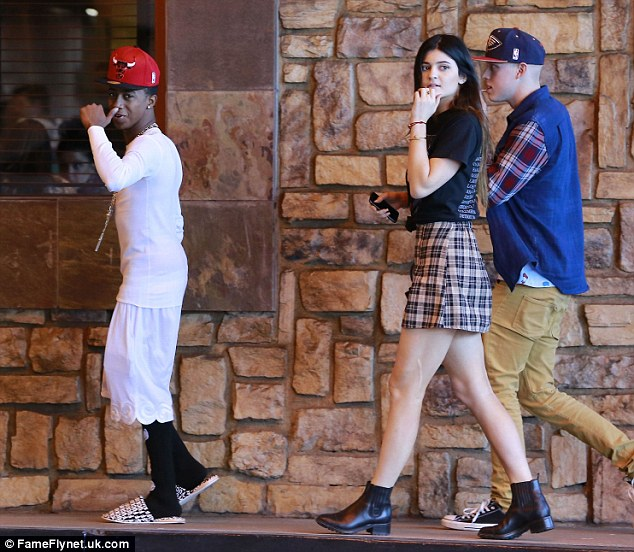Spotted: Reality star Kylie Jenner and her friends out for lunch at PF Changs, at the Beverly Center in Los Angeles