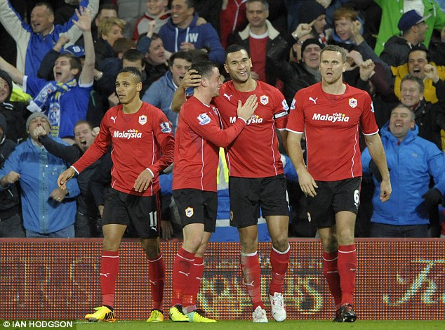 Winner: Steven Caulker scored the only goal of the game as Cardiff won 1-0