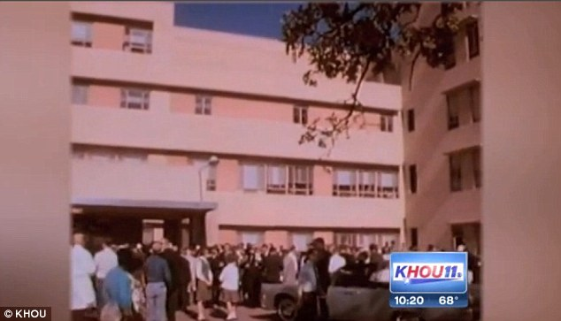 Emergency: Crowds gathered outside Parkland Hospital as Duke and his colleagues worked on President Kennedy and Governor Connally