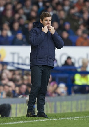 Challenge: Villas Boas whistles from the touchline during the Everton v Tottenham match