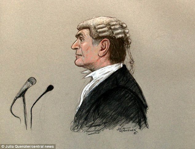 Address: A court artist's drawing of Timothy Langdale QC, standing as he speaks to the hacking trial jury