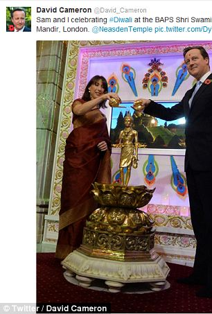 The Prime Minister also posted an image of the couple inside the temple