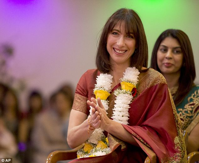 Samantha, who went barefoot in the temple, was draped in a floral garland as she was welcomed