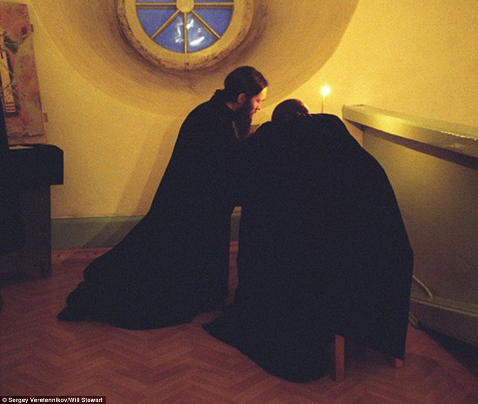 Silent prayer: Monks have been living at the monastery since the 15th century