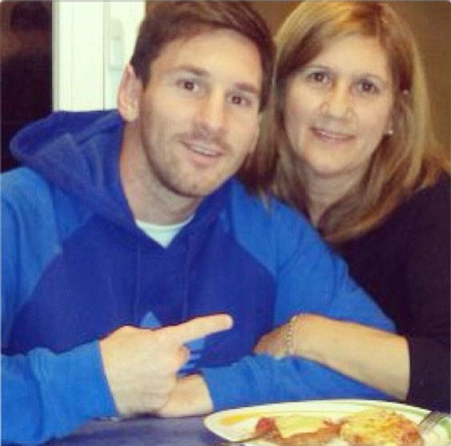 Food for thought: Lionel Messi warmed up for Wednesday's clash against AC Milan with a meal with his mother