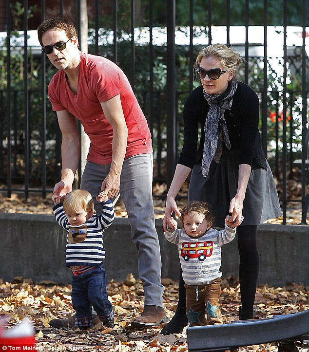 Family fun: On Saturday, Anna and husband Stephen were spotted in an East Village park with their children