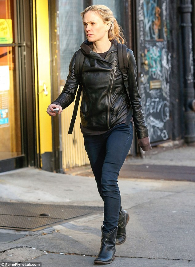 Natural beauty: Anna Paquin went without makeup for a solo stroll in New York on Tuesday