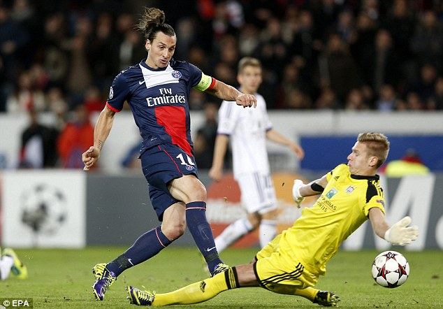 Level: Ibrahimovic equalised just two minutes later but it wasn't enough to see PSG qualify on Tuesday night