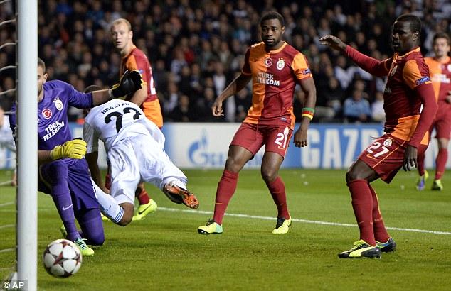 Skills: Former Bolton frontman Daniel Braaten scored the only goal of the game for Copenhagen with his heel