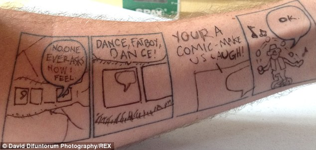 With the coupon offer about to expire, Mr Yurick found himself getting four blank panels tattooed on his left forearm