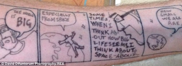 The comic strip is on Mr Yurrick's left forearm mainly because he is right handed although he says he can draw with both