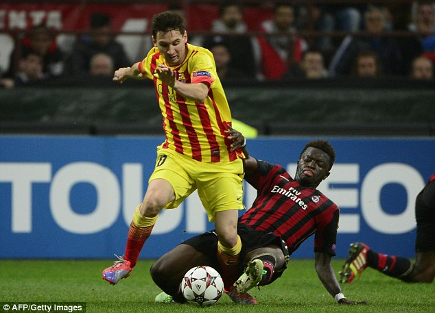Catch me if you can: Messi skips past AC Milan's Sulley Muntari