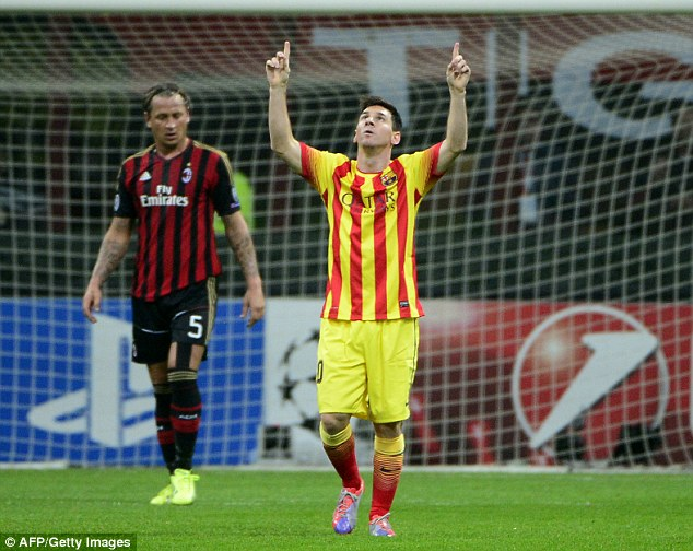 The sky's the limit: Messi looks to the heavens after his goal at the San Siro