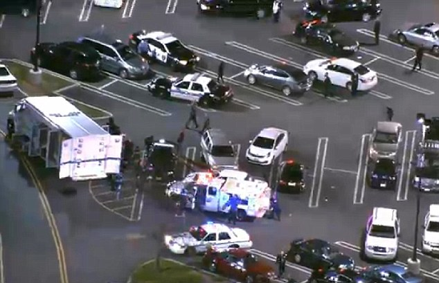 Emergency response vehicles surrounded the mall in Paramus, New Jersey