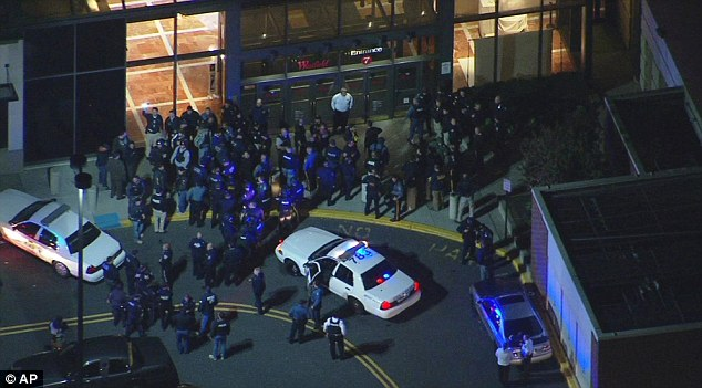 Authorities converge on the Garden State Plaza Mall late on Monday after there were reports of multiple shots being fired inside