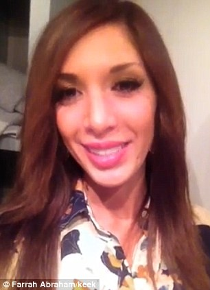 Fuller: Farrah Abraham revealed her puffier lips in a Keek video she posted on Sunday night, left. She first revealed her fuller pout last month, right