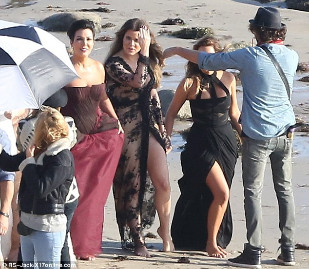 She's got it down! Kris then took centre stage as the shoot progressed with her daughters