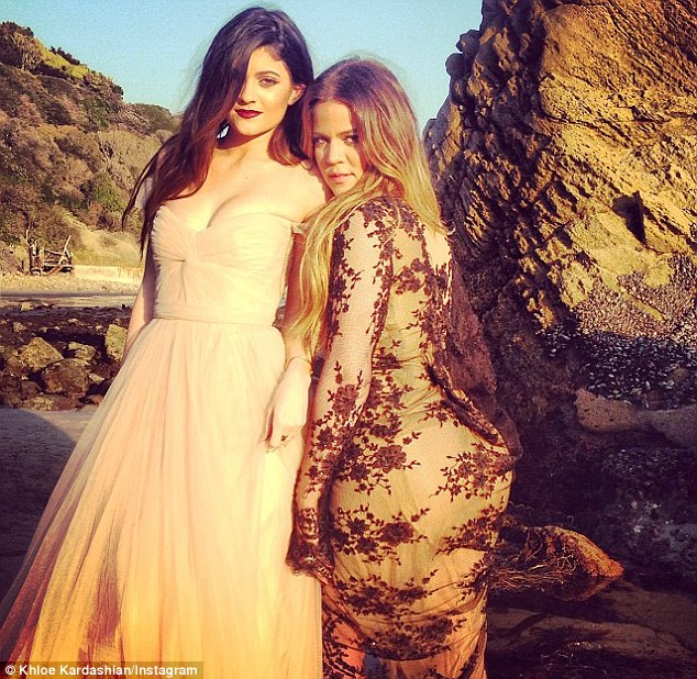 Time for a selfie: Khloe and Kendall found time on the shoot to get a quick snap of themselves taken